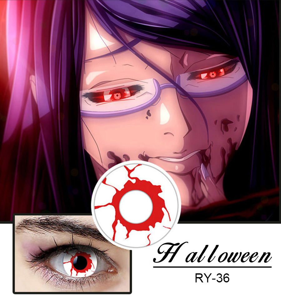 halloween color contact lens red-white patal contact lens blood