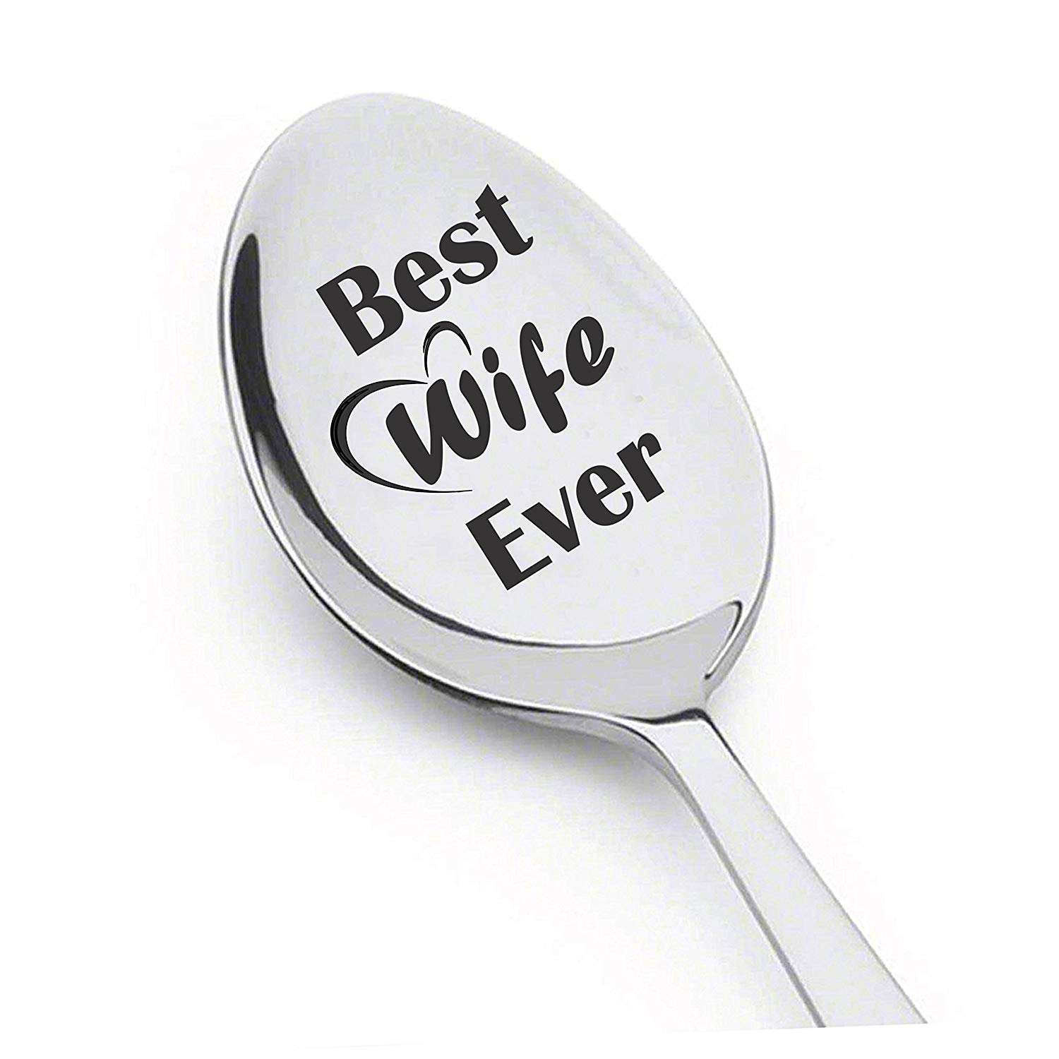 Best Wife Ever Customized spoon with Quotes for Mom's Birthday, Spoon Gift for Women, Wife Gift Ideas for Christmas and Valentines Day, Novelty Engraved Spoon