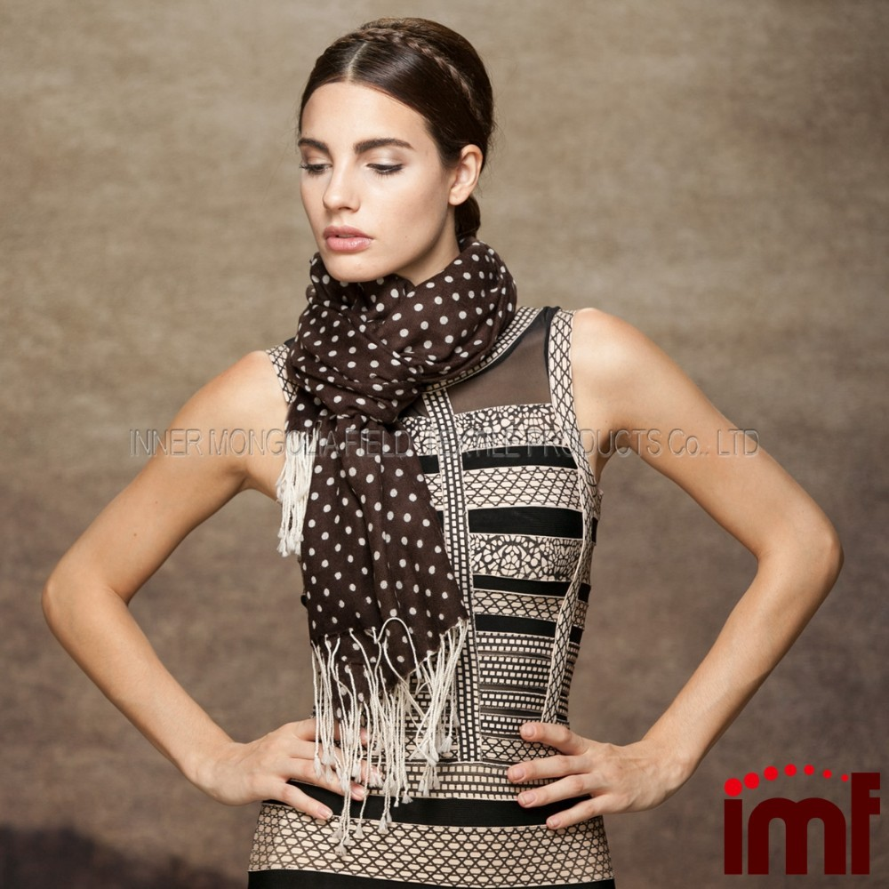 Latest Polka Dot Print Long Fringe Merino Wool Scarf