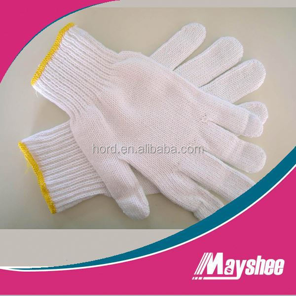 white 7 guage knitted cotton working safety gloves