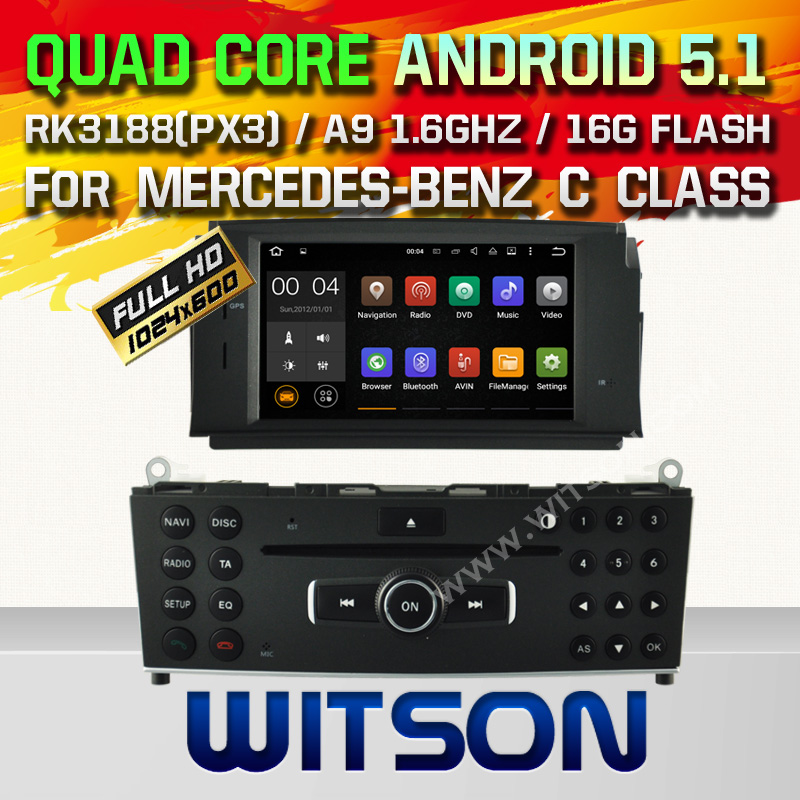 WITSON Android 5.1DOUBL DIN CAR DVD For MERCEDES-BENZ C CLASS W204 2007-2011 WITH CHIPSET 1080P 16G ROM WIFI 3G INTERNET DVR
