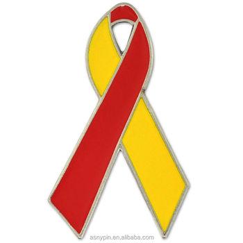 Red And Yellow Hepatitis C Awareness Ribbon Lapel Pin - Buy Cancer  Awareness Lapel Pins,Hepatitis Ribbon Lapel Pins,Jade Ribbon Lapel Pins  Product on