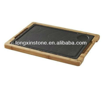 black stone plate with wooden tray set and party dishes buy stone