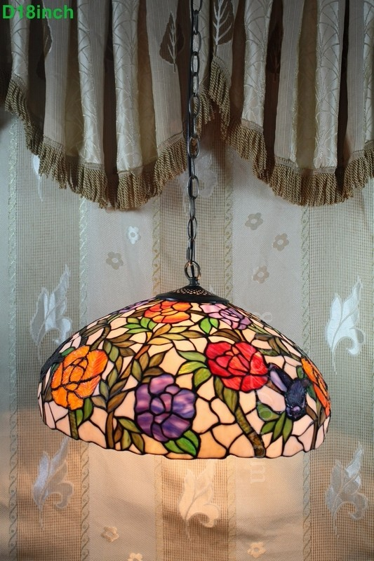 18inch tiffany <strong>modern</strong> rose pendant lamp with stained glass shades