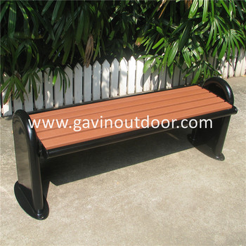 Modern Outdoor Backless Wood Bench With Steel Bench Brackets