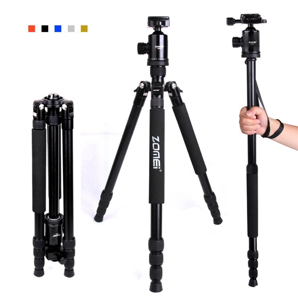 "Zomei Z818 65-inch Lightweight Camera Tripod, Aluminum Portable Detachable Monopod, 360 degree Ball Head, 1/4"" Quick Release Plate with Carrying Bag for Canon Nikon Sony Load (Black)"