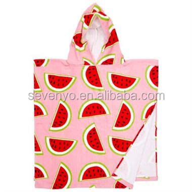 100% Cotton Dolphin Kids Baby Hooded Bath/Beach/Pool Towel | 60*120CM Pink&red,green Make in China | Watermelon Baby/Kids