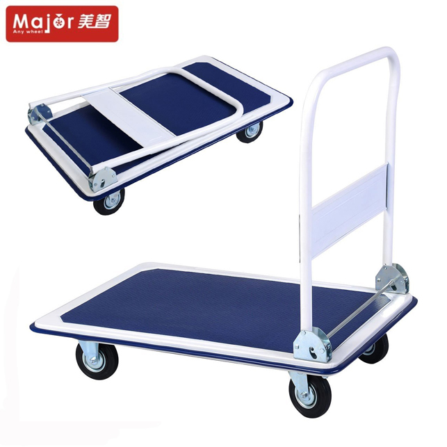 Platform Steel Trolley Folding Flat Warehouse Moving Cart Folding Weight Capacity Folding Dolly Luggage Trolley Flatbed Cart