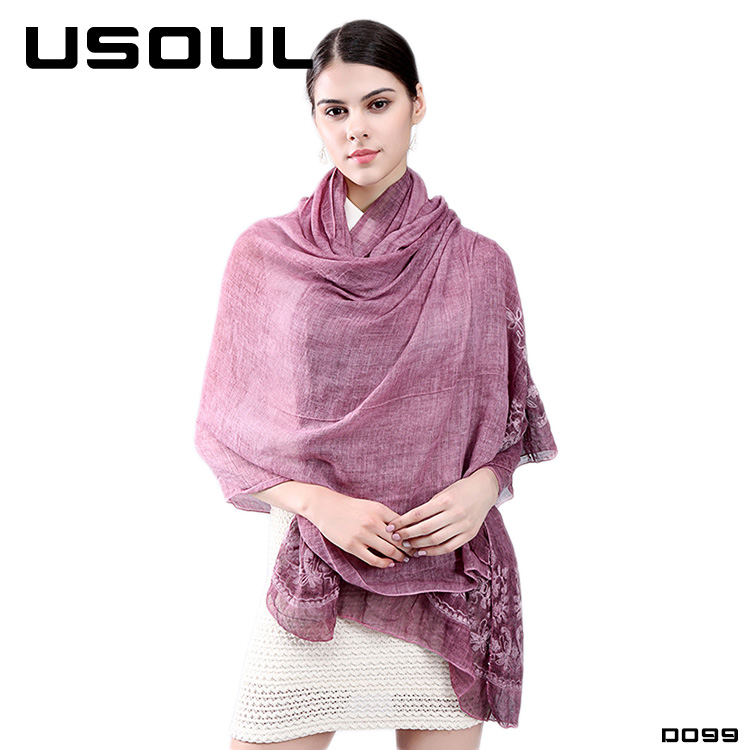New Arrival Retro Linen Lace Shawls Top Quality Embroidery Muslim Hijab Scarf