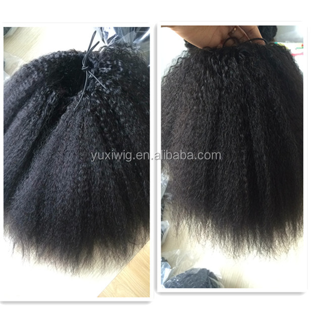 2018 New Drawstring Ponytail Virgin Tight Kinky straight Closure ponytail