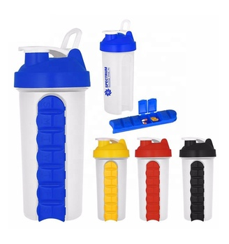 600 ML Plastic Shaker Bottle Customized Color BPA FREE with Storage Compartment