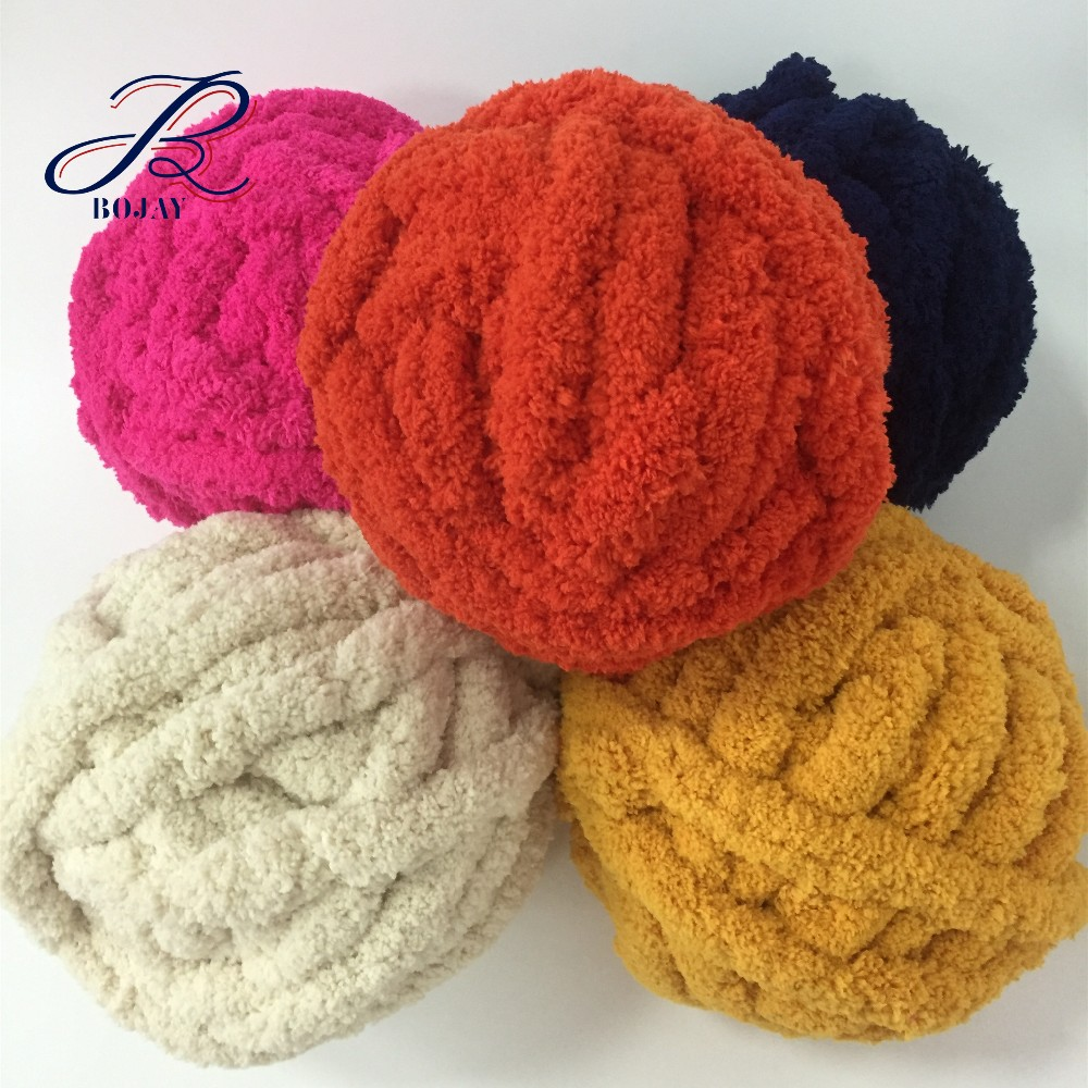 Bojay Jumbo Chunky Chenille Yarn Giant Arm Knitted Blanket Soft Baby Yarn  35 Colors In Stock - Buy Chunky Chenille Yarn,Chenille Yarn,Giant Chenille