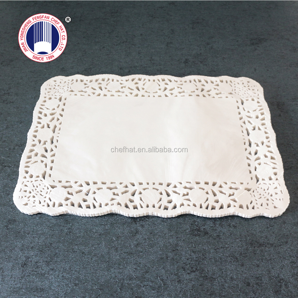 """12.5""""*18.5"""" Rectangle disposable lace food grade paper doyleys"""