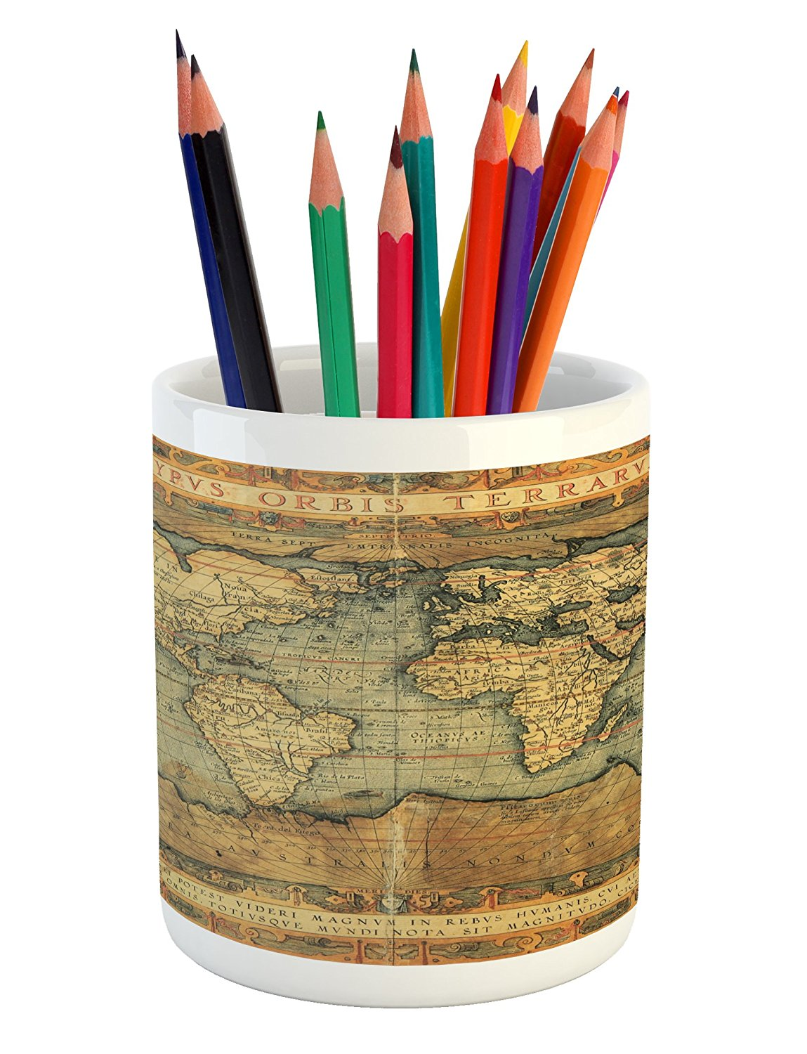 Wanderlust Pencil Pen Holder by Lunarable, 16th Century Map of the World History Adventure Civilization, Printed Ceramic Pencil Pen Holder for Desk Office Accessory, Orange Sand Brown Army Green