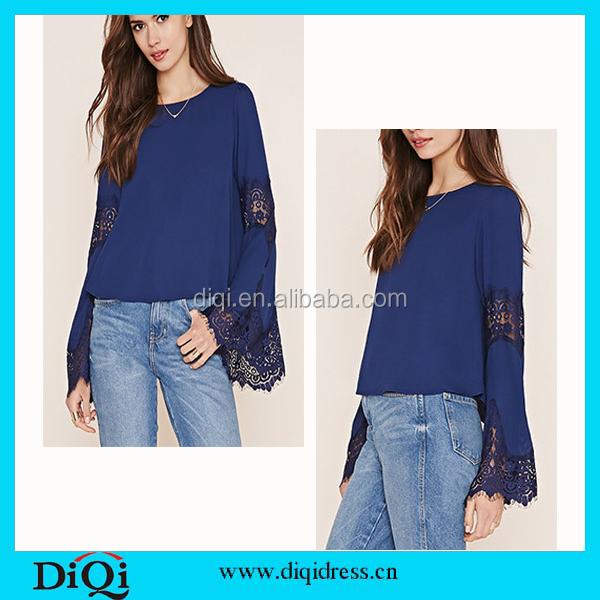 Latest Fashion Long Top Design Blue Lace Chiffon Kimono Lady Top ...