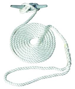 Invincible Marine 20-Foot Hand Spliced Nylon Dock Line, 3/8-Inches by 20-Feet, White