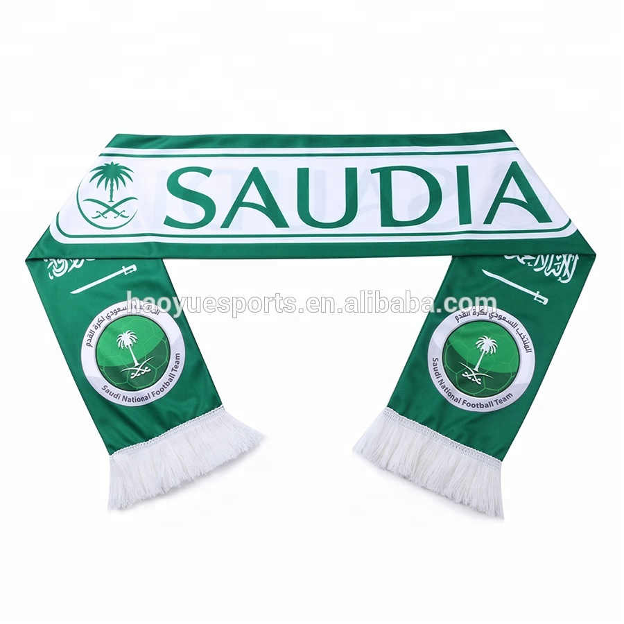 <strong>Logo</strong> <strong>Customized</strong> Printed Football Club <strong>Scarf</strong> Saudi Arabia Football <strong>Scarf</strong>