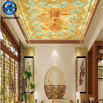 Hot Sale Wallceiling Wallpapers Wooden Color False Ceiling Design