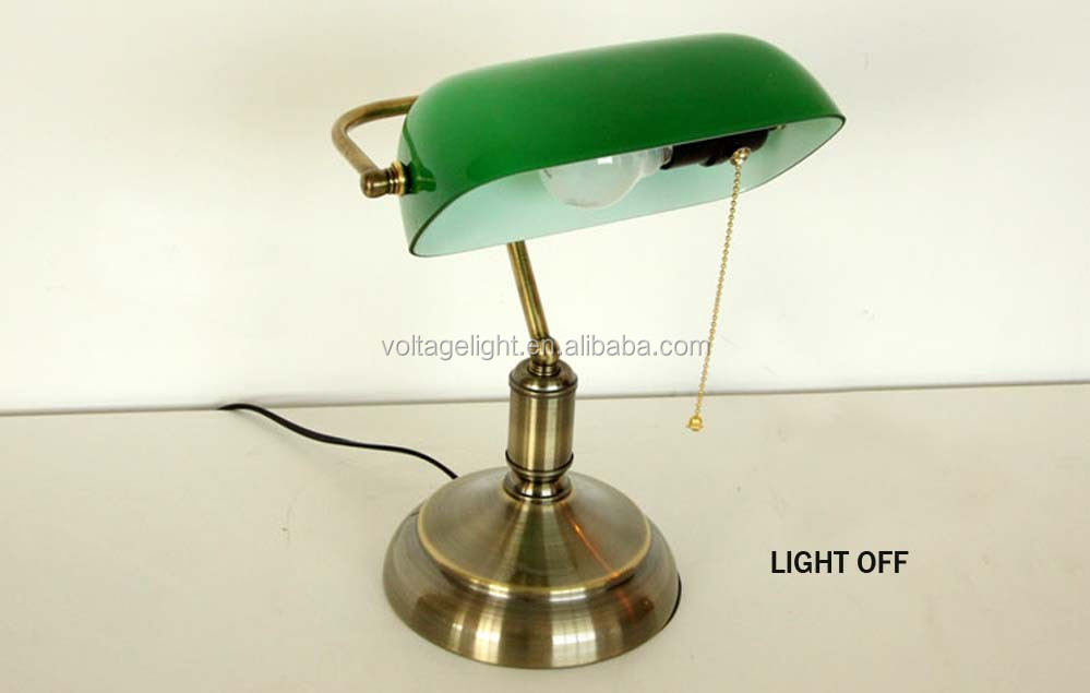 Industrial Vintage Retro Banker Table Lamp Brass Metal Base ...