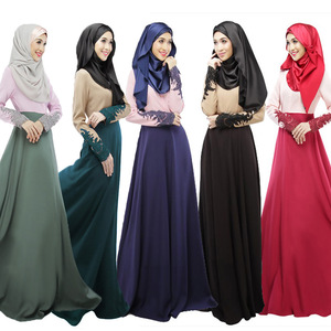 New arrival abaya wholesale arabic abaya designs double - color patterned lace embroidery long sleeve long muslim prayer dress