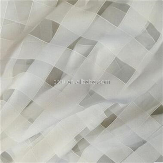 Wholesale plaid polyester shiny transparent organza fabric for dress /stage costume