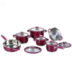 Hot sales Induction Stainless Steel Super Capsule Bottom Pink 12 Pcs Cookware Set