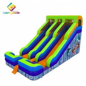 Ocean world double lane inflatable slide kids fun city inflatable games outdoor slide inflatable for sale
