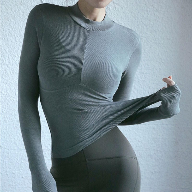 Wholesale Factory Directly Ladies Compression Knit Long Sleeves Polo Shirts 7
