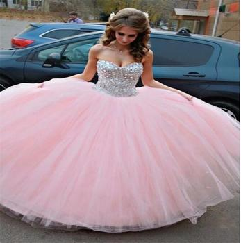 New Fashion Gorgeous Pink Vestidos De Novia Sleeveless Ball Gown Floor Length Beaded Tulle Backless Wedding Dresses
