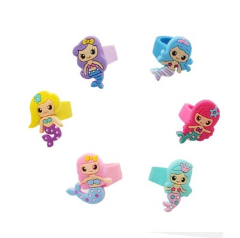 Kids Girls PVC Cute Mermaid Ring Silicone Rings Large Medium Small Size available Various Style to Choose