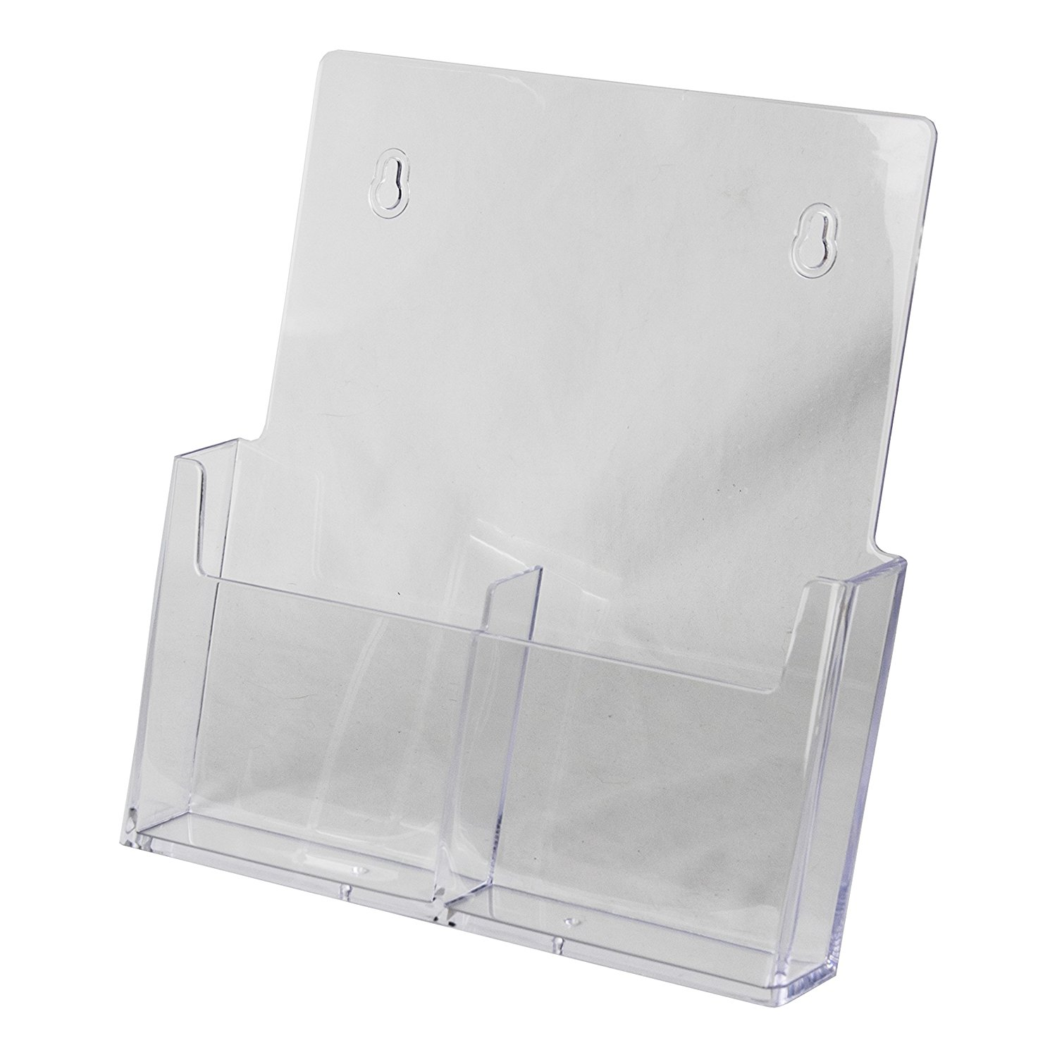 Clear-Ad - LHW-M131 - Acrylic Wall Mount Trifold 2-Tier Brochure Holder 4x9 - Two Pockets Pamphlet Display (Pack of 4)