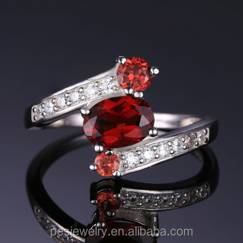 PES Fine Jewelry! Oval Natural Granat Silberring With White CZ Ring (PES6-1910)