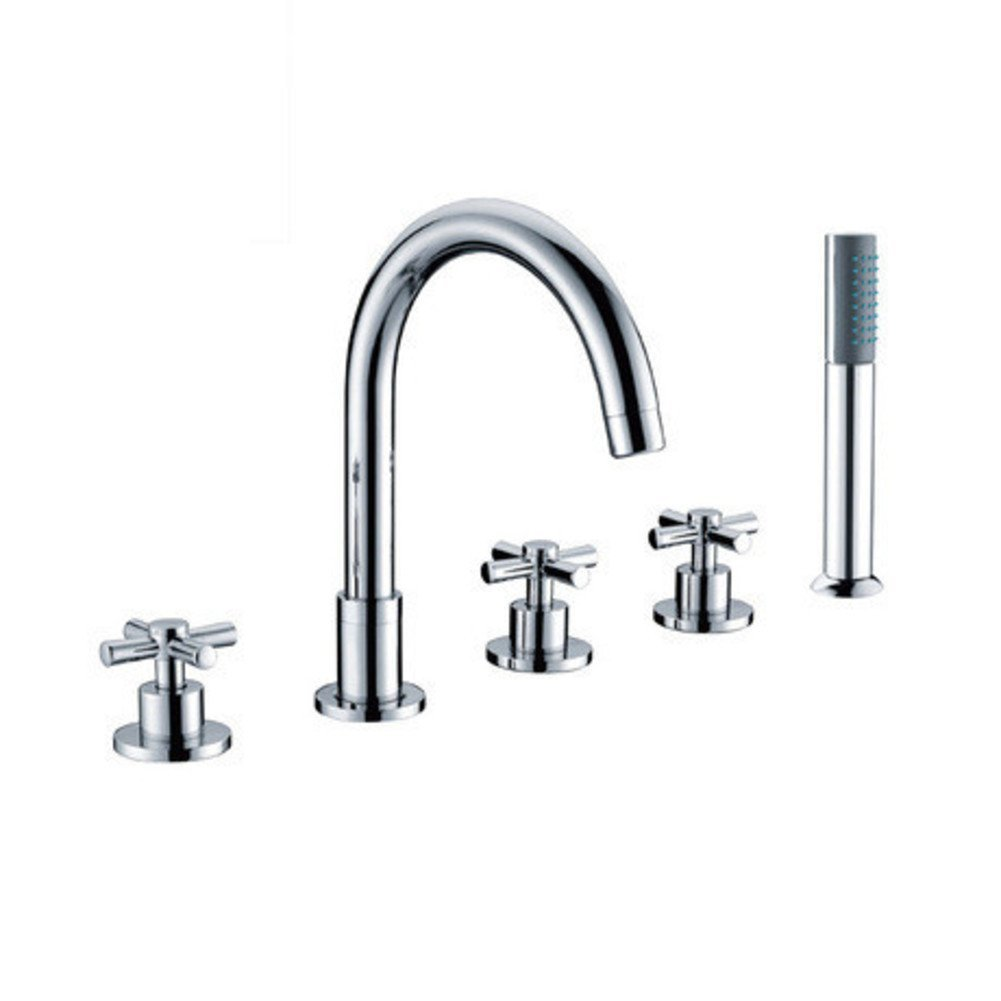 all-copper/Continental Five-piece split bathtub faucet/Five-hole cylinder side hot and cold taps shower set-A