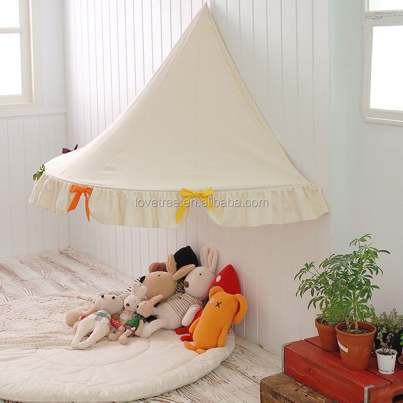 Kinderbett spielhaus  Hälfte- Mond Baumwollgewebe Leinwand Hälfte Moont Kinderbett Zelt ...