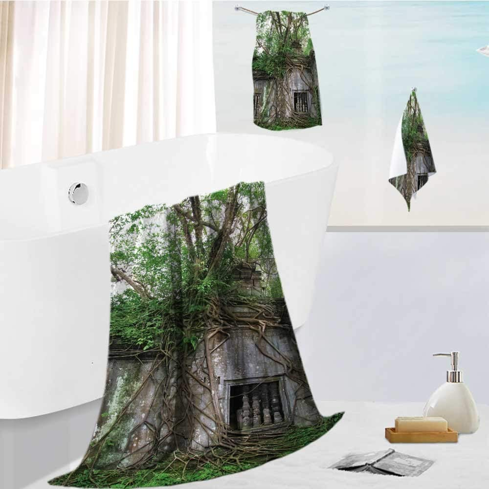 Analisahome Family Big Bath Towel set jungle eating the amazing temple of beng mealea th century near angkor wat siem reap Printing Print Bath Towel Super Absorbent Body Wrap Pool Towel