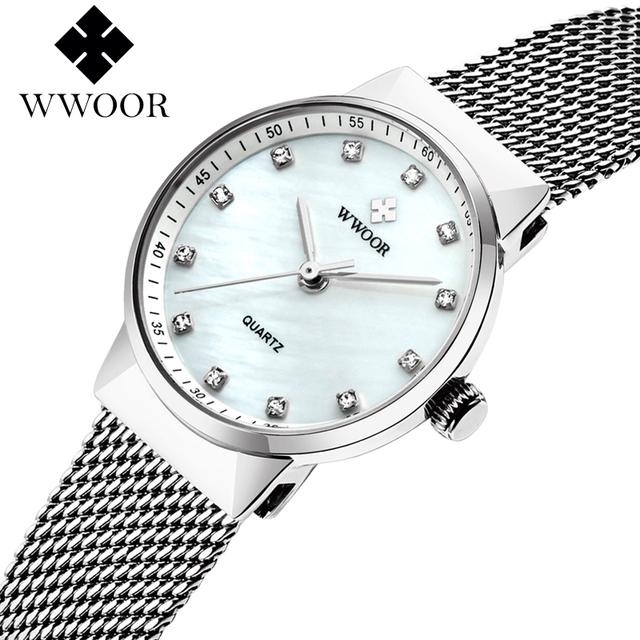 Wrist watch women dresses Quartz White Crystal Face Japan Movt Diamond Women WWOOR Top Brand Bracelets Ladies Watch For Girl