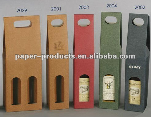 die cut shape recycled paper bag for single wine bottle