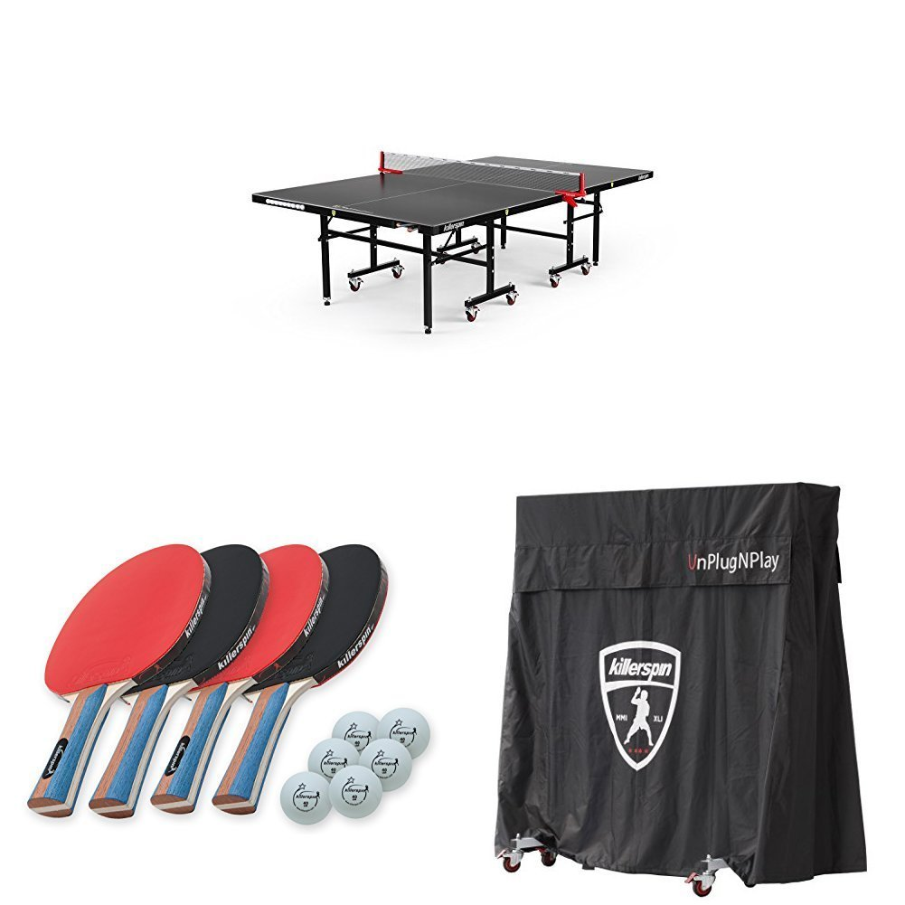 Killerspin MyT7 BlackStorm Table Tennis Table, JETSET4 Paddle and Ball Set, and MyT Jacket Table Cover