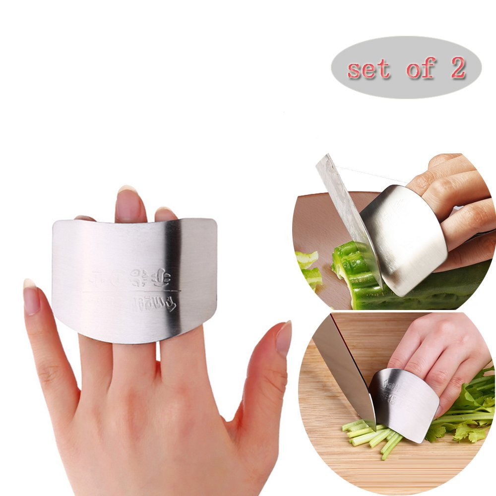 2-PACK Stainless Steel Finger Guard/finger guard for cutting,Perfect For Dicing and Slicing in Kitchens, Avoid Accidents when Slicing