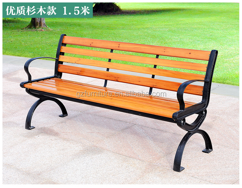 Solid Pine Wood Natural Color Outdoor Patio Park Bench