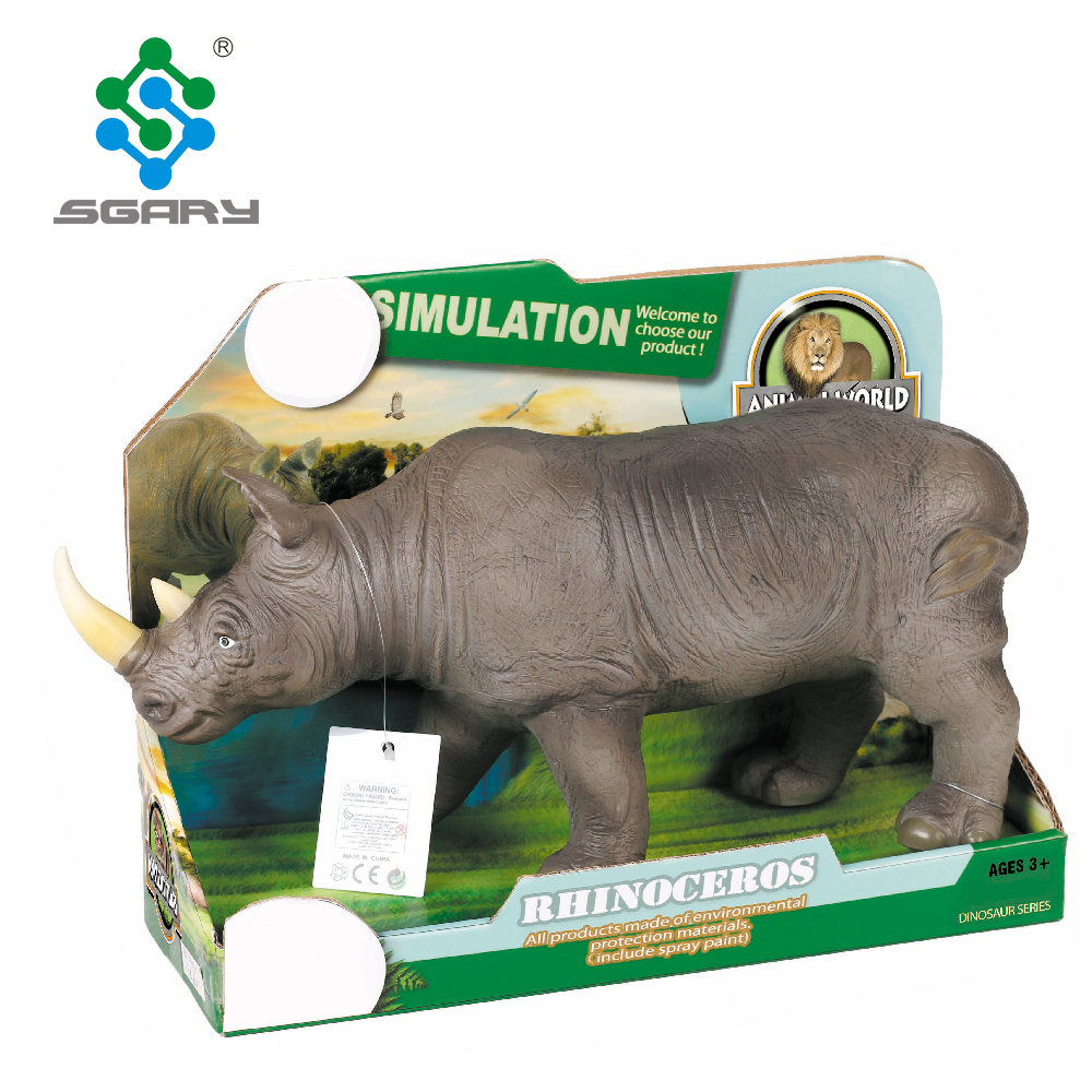 Rinoceronte Suave Decoración Animal Juguetes Pvc EDHY9Ie2W