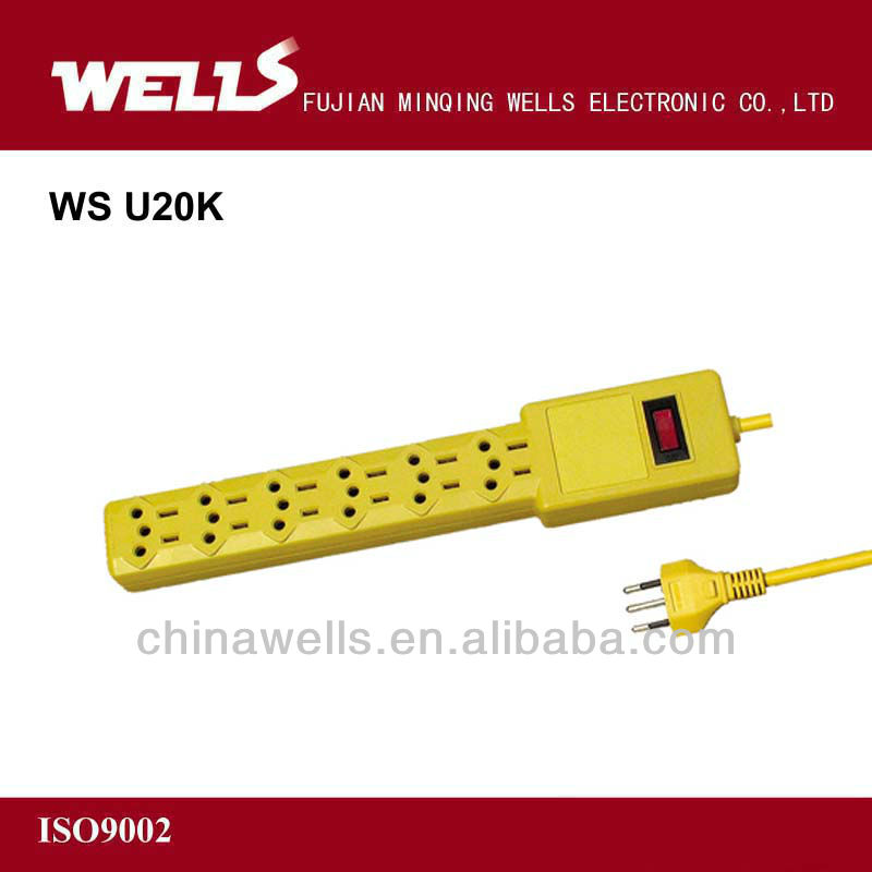 US style power extension socket yellow