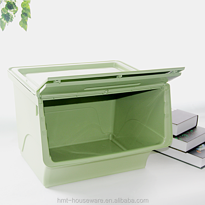 Front Opening Storage Containers Part - 18: 2017 New Hot Selling 36liter Plastic Storage Boxes Folding Lid Plastic  Boxes With Front Opening Personalized