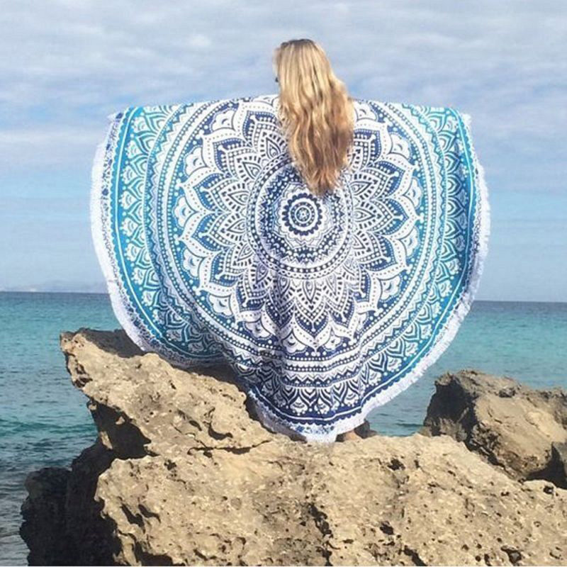 2016 Vintage Indian Boho Round Picnic Throw Towel Yoga Mat Blanket Home Decor Hippie Tapestry Wall Hanging Tapestries Beach