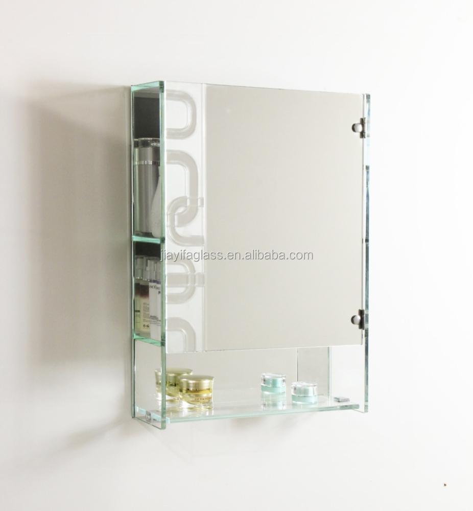 Salle de bains miroir avec tag re en verre h tel salle de for Etagere en verre salle de bain