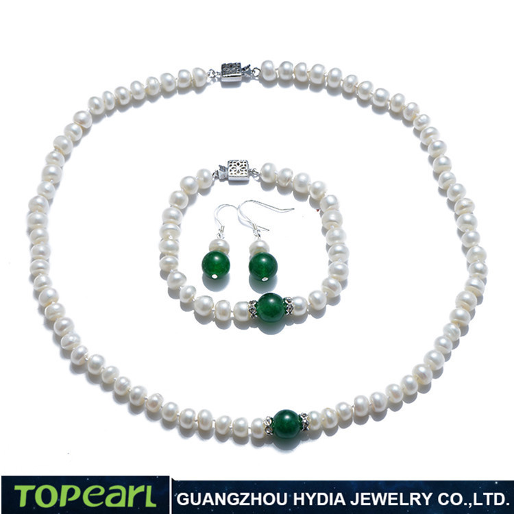 Topearl Jewelry FN188 Women Pearl Jewelry Button 7-8mm White Freshwater Pearls with Green Jade Necklace Bracelet Earrings Set