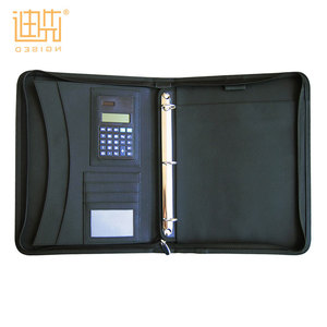 China wholesale high quality a4 or a3 or a5 Custom bonded leather ring binder portfolio calculator