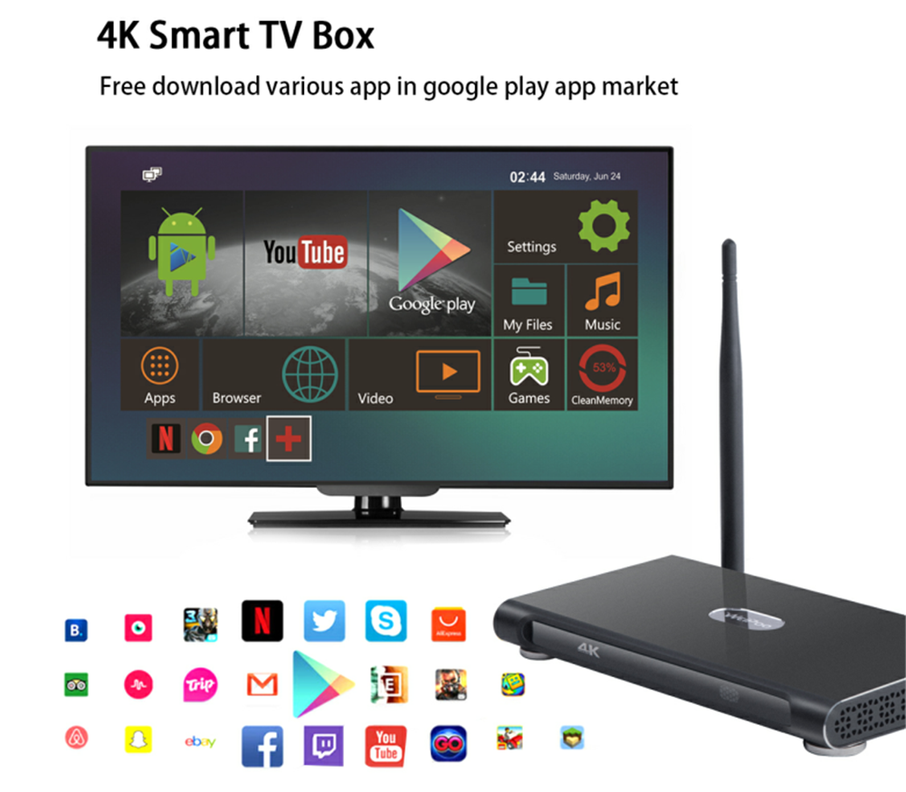 4k android tv box OEM wireless media player ott HD tv box K10 plus rk3399 4g 32g set top box