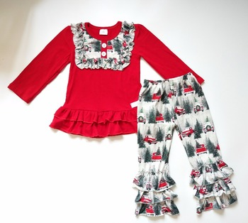 Christmas children boutique clothing fall 2017 beautiful girls fall and winter clothing sets