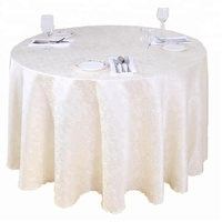Luxury Wholesale Jacquard 132 Round Cream White Tablecloths For Wedding